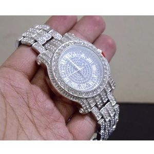 New Iced Out Silver Luxury Men's Watch Nice!